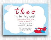 Airplane Birthday Invitation - Red and Blue Printable