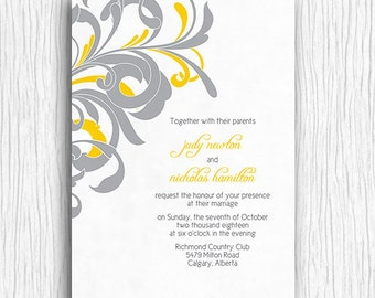 Yellow and Grey Swirls Wedding Invite Printable