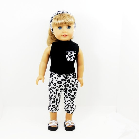 """American Girl 18"""" doll clothes 3 pc set black and white leopard theme top, pants, and headband"""