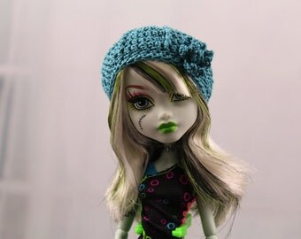 Teal Crochet Hat for Monster High, MH Dolls