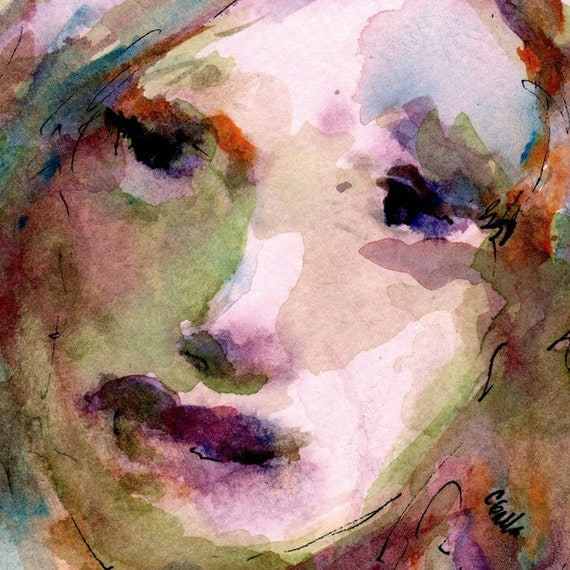 Original Watercolor of a Womans Face with Olive Green and Orange Birdwatcher