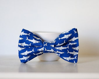 Cobalt Blue Shark Bow Tie- Child Size Clip On