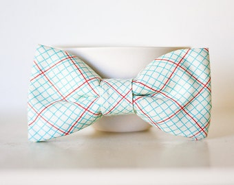Red and Blue/Green Clip On Bow Tie For Child- Notebook