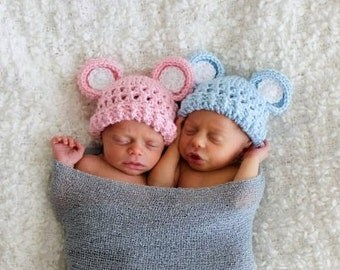 Crochet Baby Hat Set, Crochet Hat with Ears, Baby Boy, Baby Girl, Twins Hat Set, Size 0-3 months, Light Pink, Light Blue, MADE TO ORDER