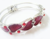 Red and silver enamelled hearts cuff set with rhinestones