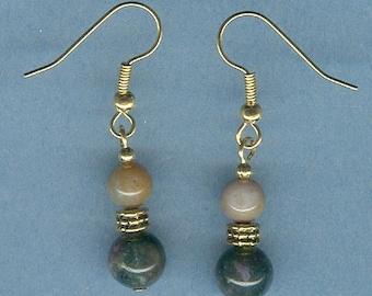Round Fancy Japer Gemstone Earrings