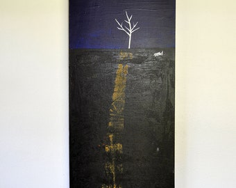 Up the Road - Original Painting on Canvas - 12in x 36in - Artist Nicole Dietz - White Series