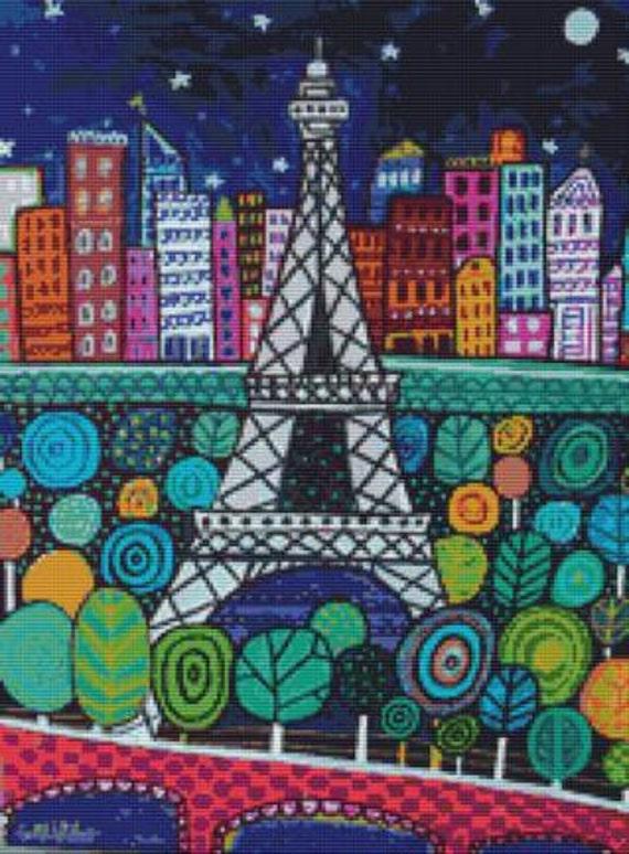 Modern cross stitch kit by Heather Galler 'Eiffel Tower' - Counted cross stitch