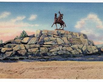 Buffalo Bill Monument Linen Postcard  Antique 1930's