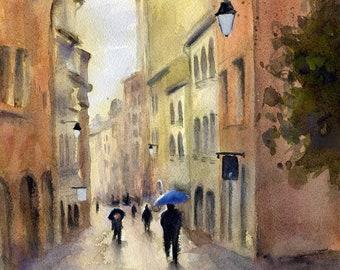 Blue Umbrella - Watercolour Painting Print - Shelleyzart   - France - Croix Rousse