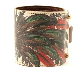 Leather cuff, Wallet Cuff, Wallet Wristband - Feathers