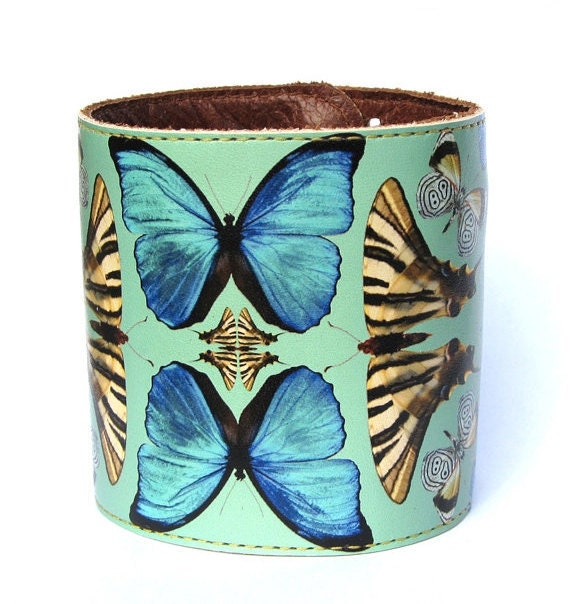 Leather cuff / wallet wristband - Beautiful butterfly collage design
