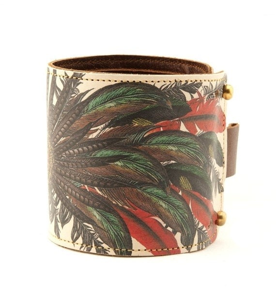 Leather cuff / wallet wristband - Feathers