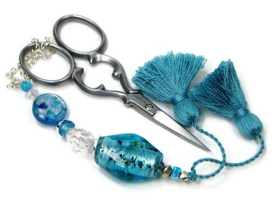 Beaded Scissor Fob, Quilting, Sewing, Cross Stitch, Gift for Crafter, Ocean Blue, DIY Crafts, TJBdesigns, Direct Checkout