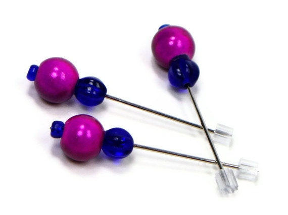 Counting Pins, Marking Pins, Magenta, Cobalt Blue, Needlepoint, Cross Stitch, Hardanger, DIY Crafts, Gift for Crafter, TJBdesigns