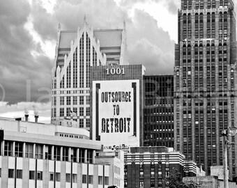 Outsource to Detroit Skyline  Fine Art Photograph on Metallic Paper