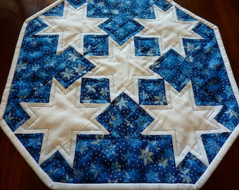 Silver Snowflakes on Blue Table Topper
