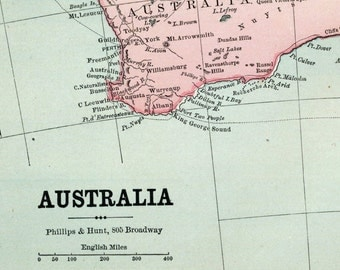 1883 Vintage Map of Australia - Vintage Australia Map - Old Australia Map