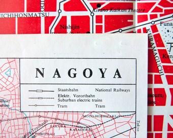 1965 Small Map of Nagoya, Japan - Old Nagoya Map