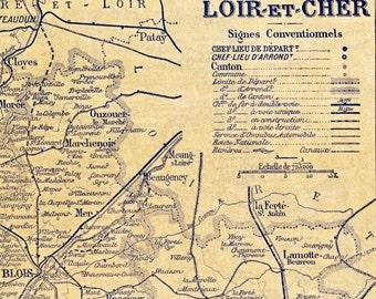 Ca. 1925 Vintage Map of Landes and Loir-et-Cher. Back-to-back Map