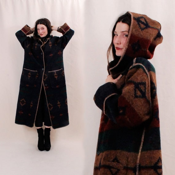INSANE Reversible Navajo Blanket Jacket - wool poncho coat, hooded cape coat, duster, oversized WOOLRICH coat - FREE Worldwide Shipping