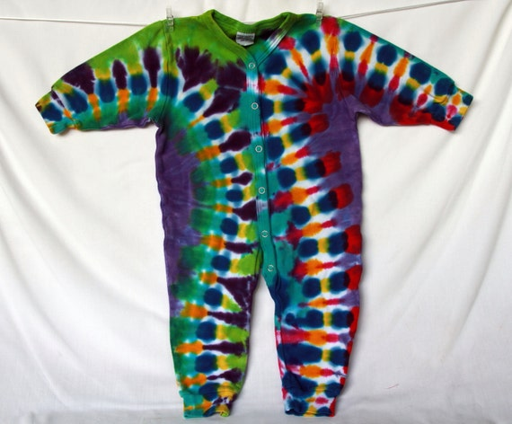 Children Baby Romper 12 month Tie Dye Lilac Golden Orange Purple Blue Fuchsia Yellow Lime Green Cuffed AnnThen Baby