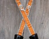 Flapper Boudoir Ribbon Work Victorian Shoe Stretchers in Orange and Gray Ruffled Silk