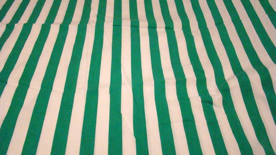 Vintage Twin Flat Sheet with Green and White Stripes / Reclaimed Bed Linens