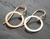 Flattened 14K gold filled circle hoop earrings