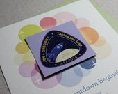 Over the Moon Eco-Friendly Save The Date Card and Magnet Sample