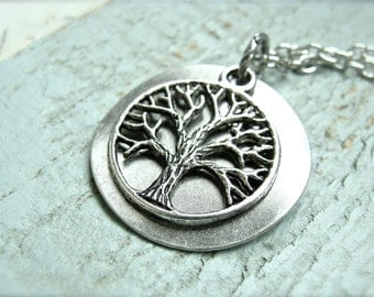 Simple Tree Of Life Charm Necklace.  Antique silver color. Family necklace.
