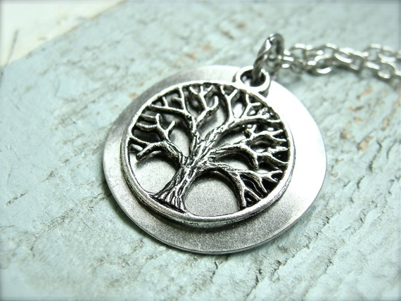 Simple Tree Of Life Charm Necklace.  Antique silver color.