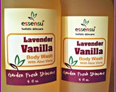 Lavender Vanilla Aloe Vera Botanical Natural Body Wash | Sensitive Skin Formula | Skin Soothing | No Sulfates , No Parabens | Vegan - 4 oz
