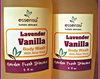 Lavender Vanilla Aloe Vera Botanical Natural Body Wash | Sensitive Skin Formula | Non-Drying | No Sulfates , No Parabens | Vegan - 4 oz