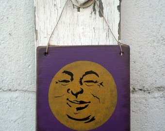Mini Primitive Halloween Sign- Man In The Moon