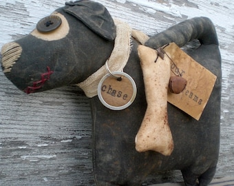 Chase The Dog An Extreme Primitive Folk Art Doll And Shelf Sitter