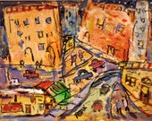 Fun crazy city painting, City Scene, abstract city art, vibrant, happy, festive original Painting, cars, buildings, streets, town, busy city