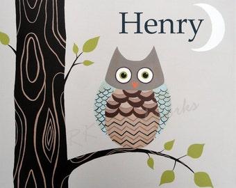 Boys Nursery Art Print - Childrens Art Print -Arthur Owl 8x10 - personalized childrens art - Woodland Nursery - Art for Kids Room