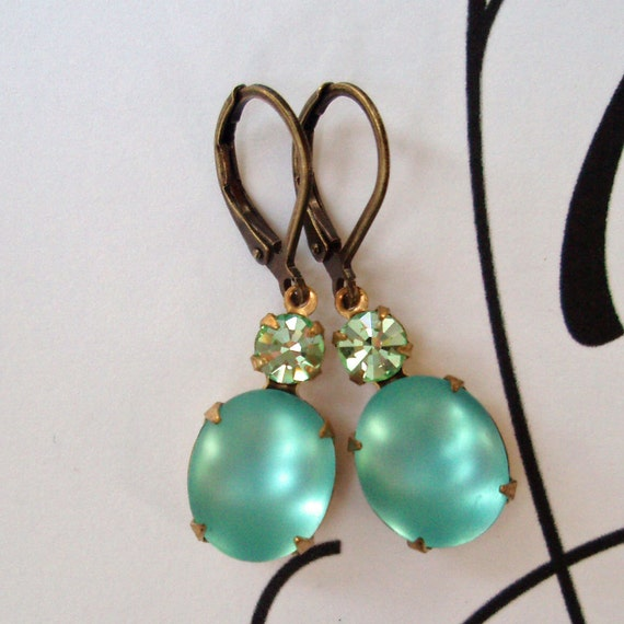 Bridesmaids Jewelry Aqua Earrings Vintage Beach Wedding Bridal Party Accessories  ARIEL