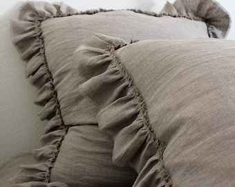LILY......Square shams (set of 3)...100%  Linen  with frayed ruffle