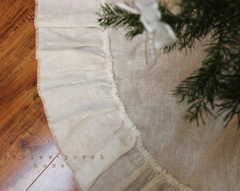 """Christmas Tree Skirt... Lilly...36"""" in OFF WHITE linen (Ready to Ship)"""
