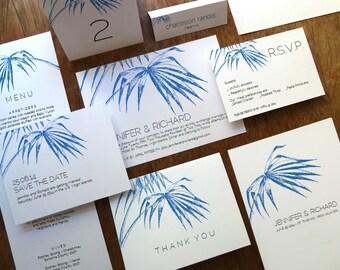 Printable Wedding Invitation Kit - Wedding Printables - Editable PDF Wedding Set - Instant Download Wedding Invitation Set - Navy Palm Frond