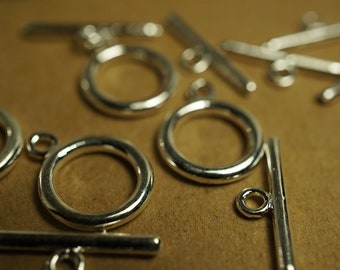 NEW - Round Sterling Silver Plated Toggles - 12mm -  3 sets