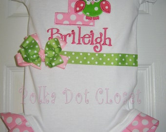 Owl First Birthday monogrammed one piece with bow and ruffles