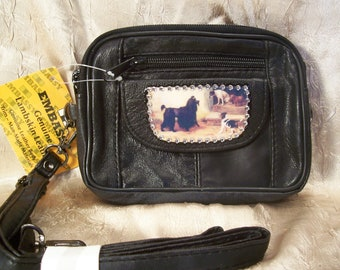 SALE... Black Lambskin Leather Purse with Vintage Dog's and Rhinestones