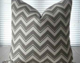 20X20--Duralee Suburban home Designer Fabric - Decorative Pillow Cover -Grey / White Throw Pillow---Geometric  Pillow