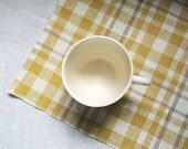 Cheerful warm gray, yellow and off white plaid linen napkins set of 4