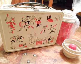 Reduced 75 Vintage All American metal lunchbox with NOS thermos