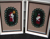 Victorian Christmas St. Nickolas Wool Penny Mats Pair Framed Hand Embroidered