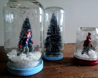 Handmade Snow Globe - Ice Skater and Bottle Brush Tree